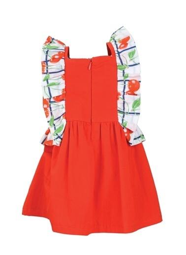 Mininio Mininio Kare Yaka Kolsuz Fırfır Detaylı Kiraz Desenli Kız Çocuk Elbise 9 Ay4 Yaş Kırmızı